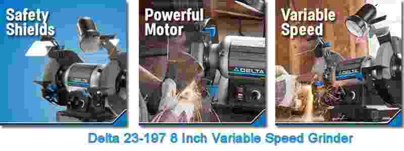 Delta Power Tools 23-197 8 Inch Variable Speed Bench Grinder